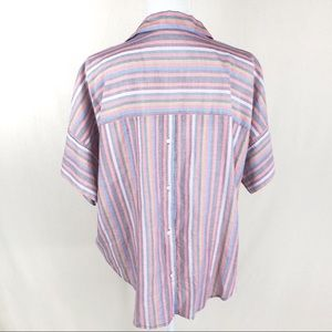 Madewell Tops - MADEWELL stripped split neck collared top size L